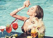 Fashion Woman With Refresh Alcohol In Miami. Drink Fresh Vitamin Juice, Diet. Cocktail With Fruit At poster