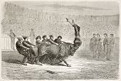 Portuguese bullfighting old illustration. Created by Gustave Dore, published on Le Tour Du Monde, Pa