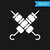 White Crossed Grilled Shish Kebab On Skewers Stick Icon Isolated On Black Background. Meat Kebab On  poster