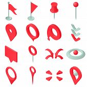 Map Pointer Icons Set. Isometric Illustration Of 16 Map Pointer Icons For Web poster