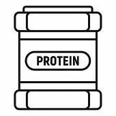 Protein Sport Jar Icon. Outline Protein Sport Jar Vector Icon For Web Design Isolated On White Backg poster