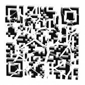 QR code broken into black pieces isolated