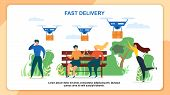 Cartoon People Recieve Mail Package. Fast Delivery Vector Illustration. Air Dron Shipping, Quadcopte poster