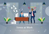 Boss Man Character Screaming On Worker Banner Vector Illustration. Stressed Cartoon Person In Desper poster