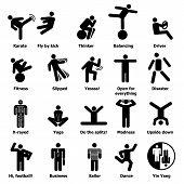 Man People Stick Icons Set. Simple Illustration Of 20 Man People Stick Icons For Web poster