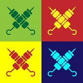 Color Crossed Grilled Shish Kebab On Skewers Stick Icon Isolated On Color Backgrounds. Meat Kebab On poster