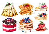 Watercolor Set Of Cakes, Sweet Pastries. Hand-drawn Pancakes, Waffles With Honey And Pieces Of Chees poster
