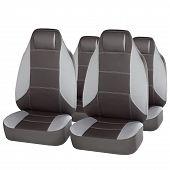 Grey Ergonomic Car Seats Isolated On White