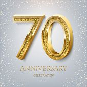 70th Anniversary Celebrating Golden Text And Confetti On Light Blue Background. Vector Celebration 7 poster