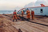 Vessel Crew Preparing Vessel For Static Tow Tanker Lifting poster