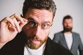 Man Handsome Bearded Guy Wear Eyeglasses. Eye Health And Sight. Optics And Vision Concept. Smart Gla poster
