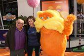 LOS ANGELES - FEB 19:  Danny DeVito, Rhea Perlman, Lorax arrives at the