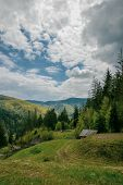 Landscape In The Mountains Of Yaremche, Carpathians, Ukraine. Mountain Sky Clouds. Beautiful Alpine  poster