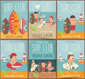 Surfing Posters Set. Funny Cartoon Surfer With Surfboard Walking Along Beach. Vector Illustration. R poster