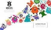 Cartoon Funny Cute Monsters Concept With Colorful Fluffy Angry Joyful Cheerful Creatures Vector Illu poster