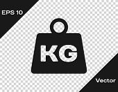 Grey Weight Icon Isolated On Transparent Background. Kilogram Weight Block For Weight Lifting And Sc poster
