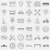 Crossroad Icons Set. Outline Style Of 36 Crossroad Vector Icons For Web For Any Design poster