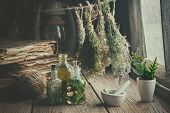 Infusion Bottles, Old Books, Mortar And Hanging Bunches Of Dry Medicinal Herbs. Herbal Medicine. Ret poster