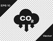 Grey Co2 Emissions In Cloud Icon Isolated On Transparent Background. Carbon Dioxide Formula Symbol,  poster