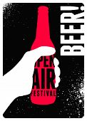 Beer Open Air Festival Typographical Vintage Style Poster Design. Retro Vector Illustration. poster