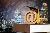 Education World Knowledge Ideas. Graduation Cap, Wood Email Address Symbol On Textbook, Blur Hud Gra poster