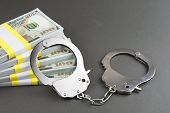 Money And Handcuffs. Financial Crime  Inheritance Scams  International Lottery Fraud  Stock Market S poster