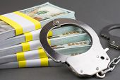 Money And Handcuffs. Financial Crime, Advance Fee Scams, Card Fraud, Counterfeit Cards, Fake Check S poster