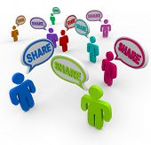 The word Share in many speech bubbles spoken by people giving or helping each other with comments, f