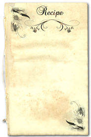 stock photo of recipe card  - A page from an old book as a recipe on white background - JPG