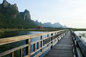Wooden Bridge in lotus lake at khao sam roi yod national park, thailand