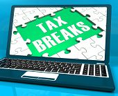 Tax Breaks On Laptop Showing Internet Taxing