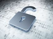 image of keyholes  - silver opened padlock on digital background - JPG