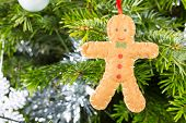 Gingerbread Man Decoration On A Christmas Tree