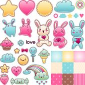 stock photo of kawaii  - Set of decorative design elements with kawaii doodles - JPG