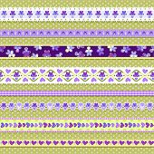 set of seamless pansy borders