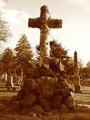 Cemetery In Brooklyn - Cross On Tombstone - Sepia