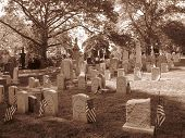 Cemetery In Brooklyn - Civil War Gravestones -Sepia