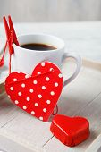 Sweet little heart and coffee cup made for Valentine breakfast