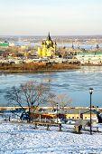 Постер, плакат: Декабрь вид собора Невский Нижний Новгород