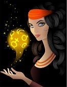 stock photo of gypsy  - Fortune teller  with a gold magic ball - JPG