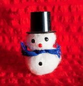 Christmas Snowman On Red Background