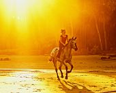picture of bareback  - woman riding galloping horse on the beach at sunset - JPG
