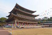 View of famous Yakcheonsa Buddhist Temple, Jeju Island, South Korea