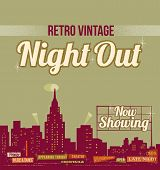 City nightlife - vintage retro design - editable vector background