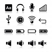 Electronic device / Computer software icons set - vector
