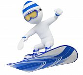 picture of snowboarding  - 3d white snowboarder with goggles wool cap snow boots and gloves - JPG