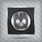 metallic power button icon on the striped background