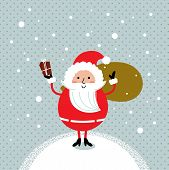 Cute Retro Santa Isolated On Winter Snowing Background