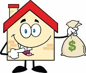 House Cartoon Character Holding A Bag Of Money