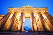 Brandenburg Gate. German Brandenburger Tor in Berlin, Germany. Illumination at night
